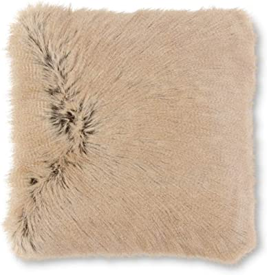 K&K Interiors 17005A 17 Inch Tan Faux Fur Pillow