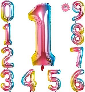 40 Inch Rainbow Jumbo Digital Number Balloons 1 Huge Giant Balloons Foil Mylar Number Balloons for Birthday Party,Wedding, Bridal Shower Engagement Photo Shoot, Anniversary