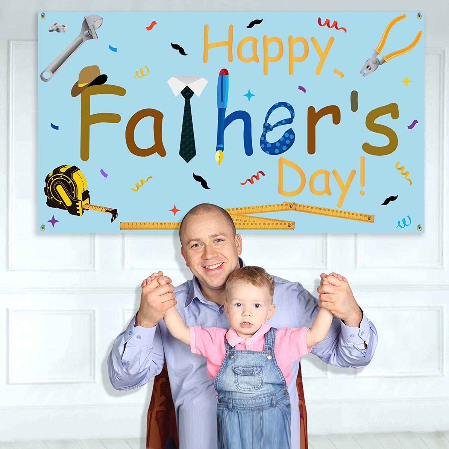 """Happy Fathers Day Banner Max 81% OFF - Large Max 47% OFF Fathe x Size 39""""- 70"""""""