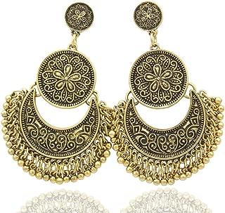 Ethnic Bali Jhumka Jhumki Gold Brocade Lotus Mexico Gypsy Dangle Earrings with Gift Box