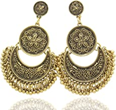 RechicGu Ethnic Bali Jhumka Jhumki Gold Brocade Lotus Mexico Gypsy Dangle Earrings with Gift Box