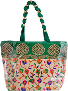 Kuber Industries Laminated Embroidery Hand Bag, Tote Bag, Purse for All Occasion for Women & Girls (Green)