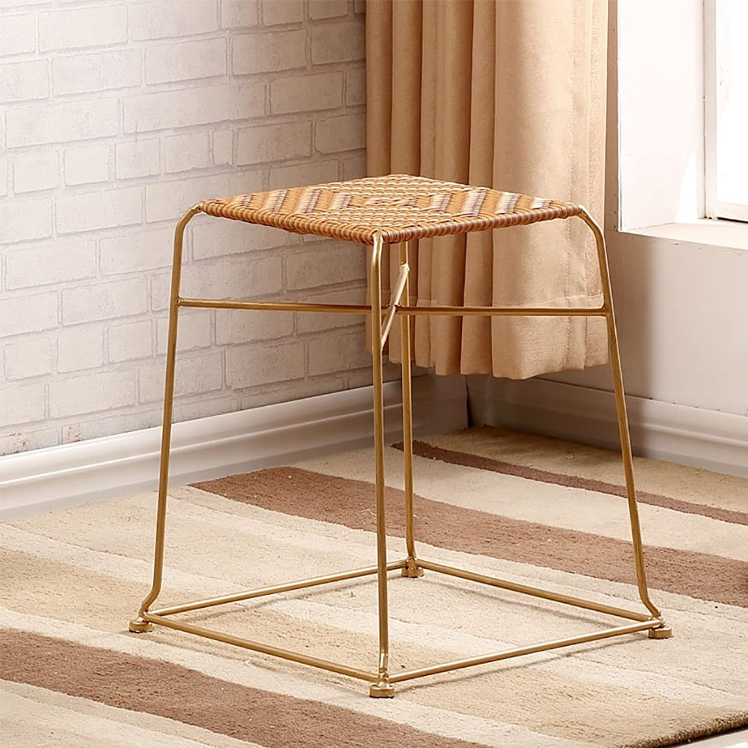 AIDELAI Bar Stool Chair- Rattan Stool Side Stool Rattan Chair Dining Chair Adult Bench Coffee Table Stool Stool Stool Plastic Stool Saddle Seat (color   B)