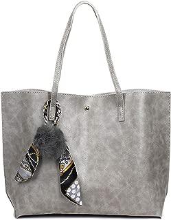 SGJFZD Women's Handbag PU Large-Capacity Fashionable Shoulder Bag Messenger Bag Tote Bag PU Leather Shopping Travel Laptop Bag for Ladies Wallet Storage Bag (Color : Grey)
