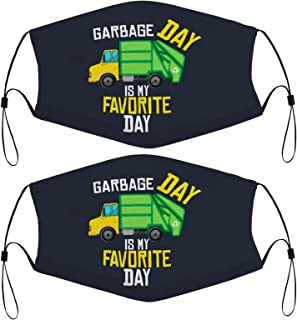 Garbage Day Is My Favorite - Recycling Trash Garbage Truck Kids Face Mask Set Of 2 With 4 Filters Washable Reusable Adjust...