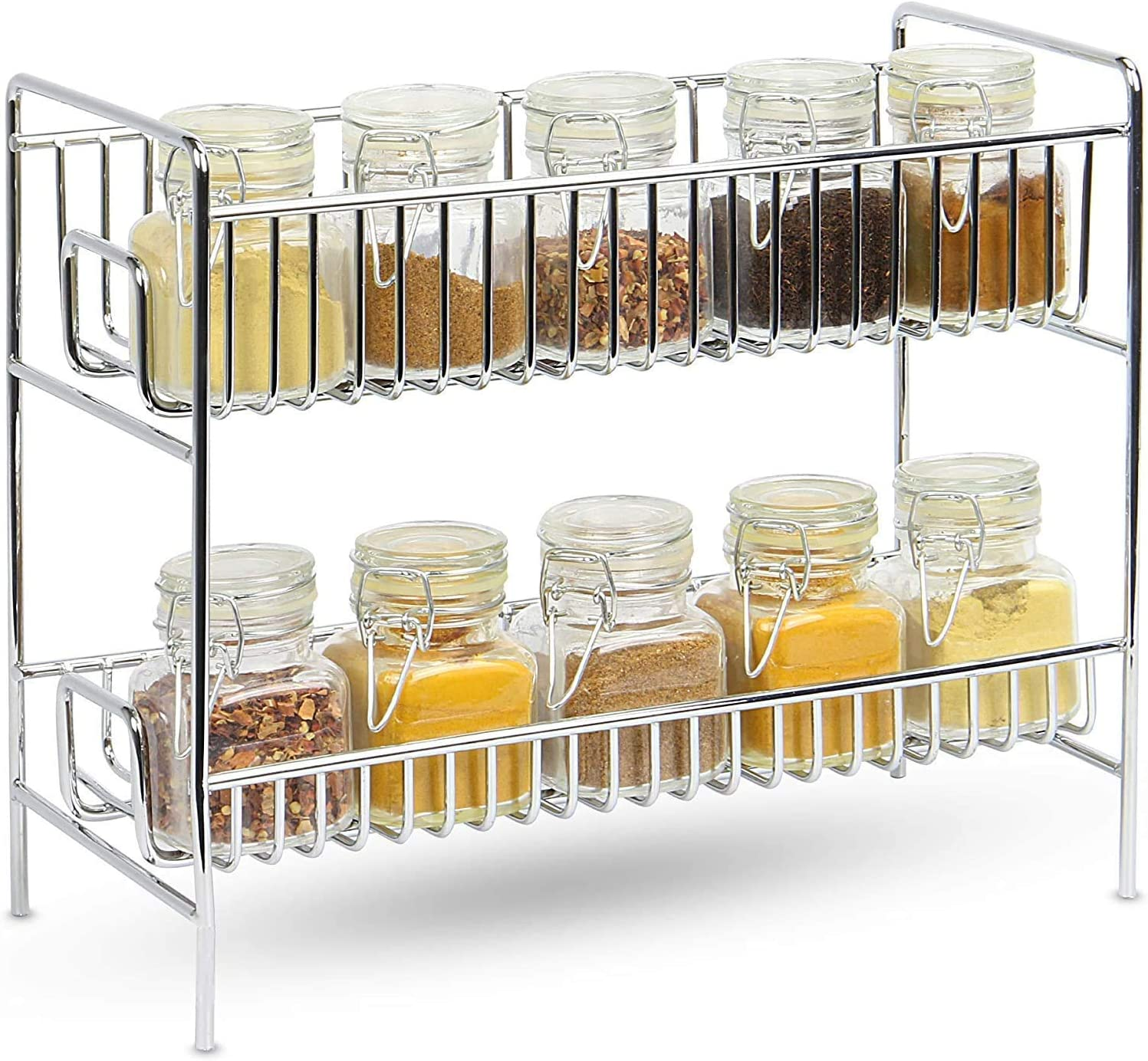 2-Tier Standing Rack Shelf Holder Spice Rack Countertop Storage Organizer for Kitchen Bathroom Office (Silver)