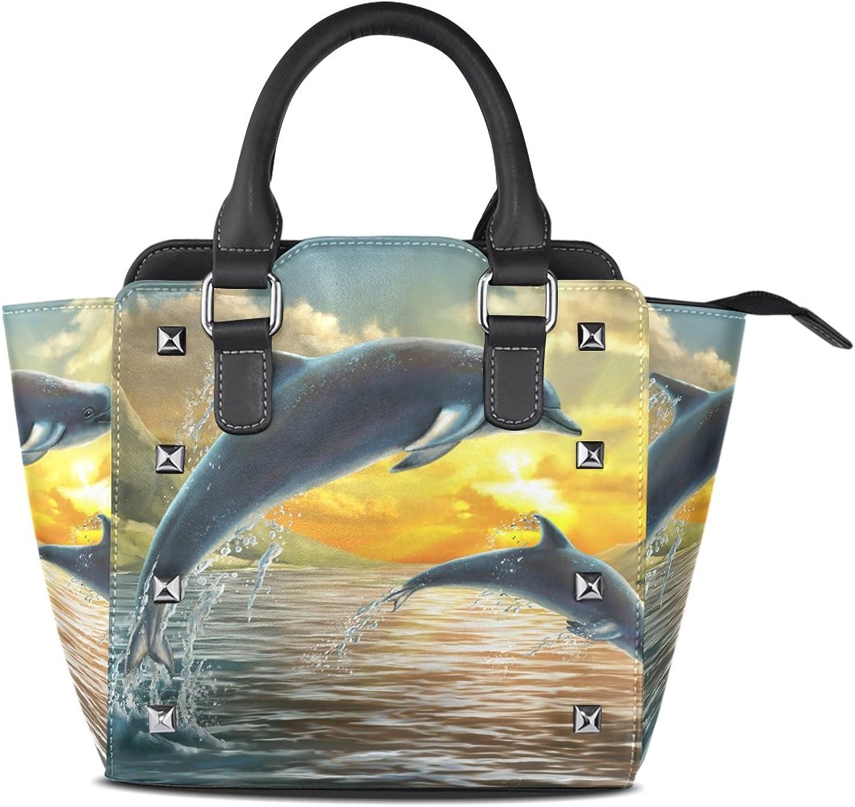 My Little Nest Women's Top Handle Satchel Handbag Dolphins Jump Ladies PU Leather Shoulder Bag Crossbody Bag