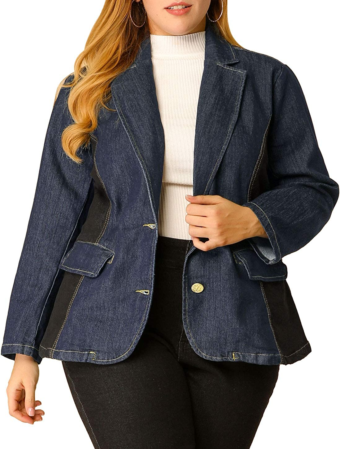 Agnes Orinda Women's Plus Size Denim Jackets Elegant Open Front Lapel Work Blazers