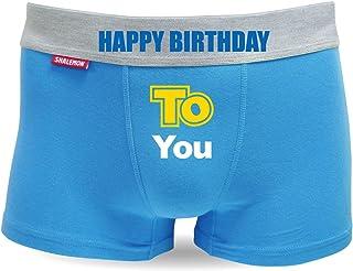 シャレもん 誕生日 プレゼント ボクサーパンツ【青】【コットン】ハッピーバースデー パーティーグッズ 贈り物 男性 下着 綿