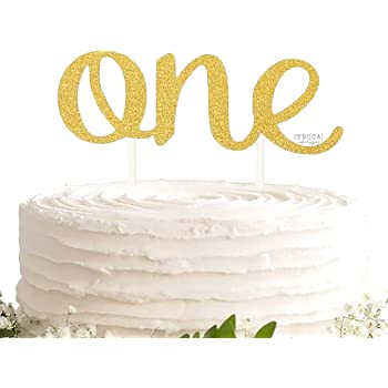 Gold One Cake Topper Cake Smash First Birthday Cake Number 1 Double Sided