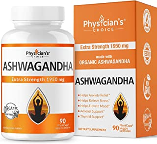 Ashwagandha 1950mg Organic Ashwagandha Root Powder Extract of Black Pepper Anxiety Relief, Thyroid Support, Cortisol & Adr...