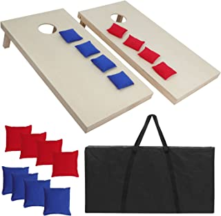 ZENY Portable Solid Wood Cornhole Bean Bag Toss Game Set Regulation Size 4ft x 2ft Cornhole Boards & 8 Bags Playset Backyard Lawn Corn Hole Outdoor Game Set