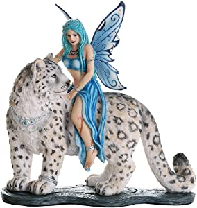Pacific Giftware Decorative Companion Fairy Hima with Snow Leopard Collectible Decorative Statue 8H