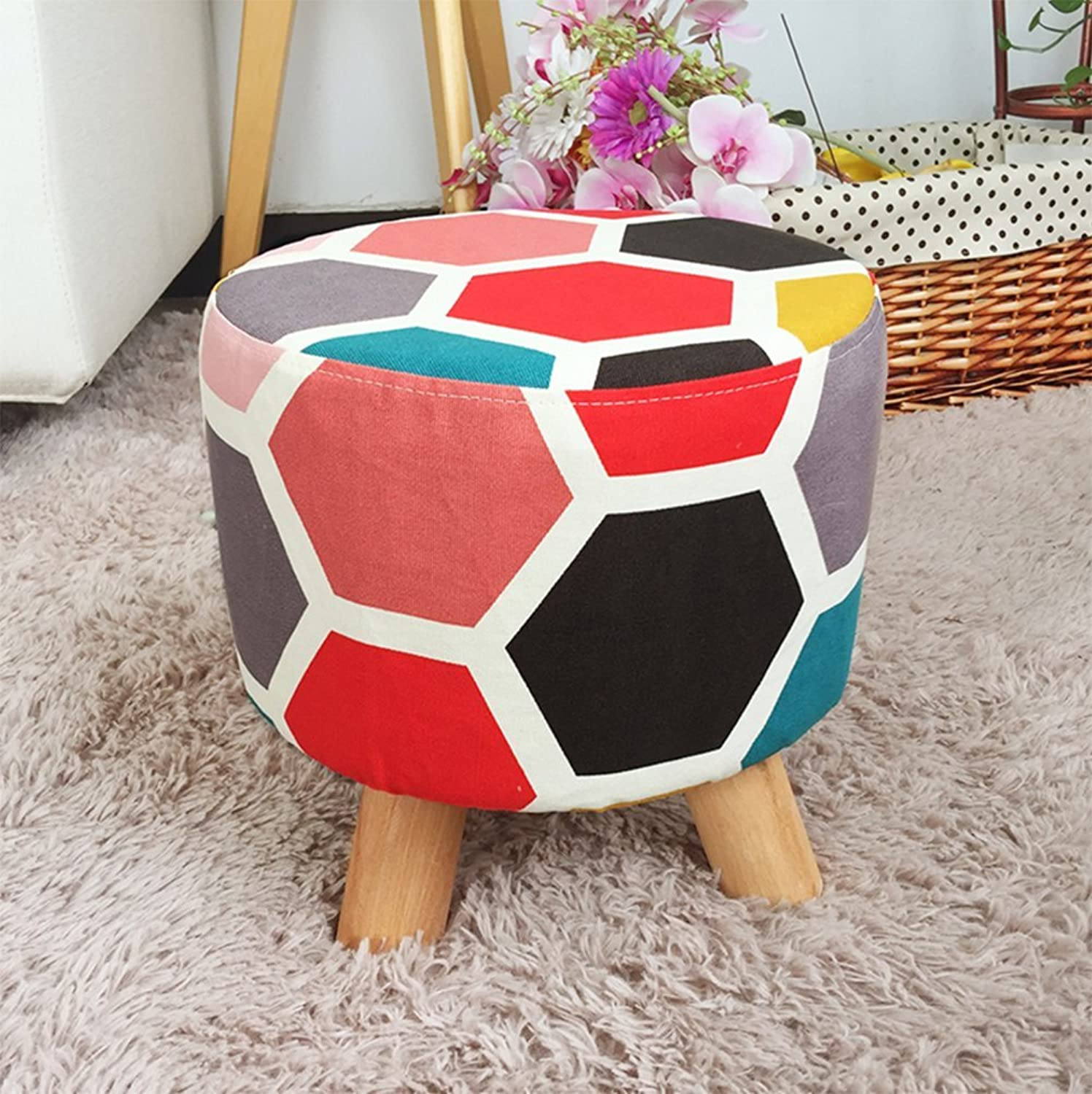 Cloth Small Stool, Creative Living Room Simple Stool, Sofa Stool Door Change shoes Bench Home Small Bench,Red