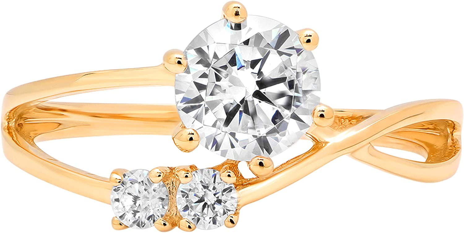 0.79ct Round Cut 3 stone love Solitaire Stunning Genuine Moissanite Ideal VVS1 D & Simulated Diamond Engagement Promise Statement Anniversary Bridal Wedding with accent Ring Solid 14k Yellow Gold