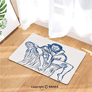 Kitchen Door Mat Count Dracula in Cape Carrying His Prey Victim Woman Sketchy Halloween Artwork (19.7 in X 31.5 in) Fabric Top with a Anti-Slip Rubber Back for The Entrance Way Indoor Rug,Blue and Wh