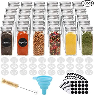 CUCUMI 30pcs 4oz Glass Spice Jars Square Glass Bottles with 30pcs Shaker Lids 1pcs Silicone Collapsible Funnel 200pcs Blank Round Waterproof Labels 1pcs Test Tube Brush