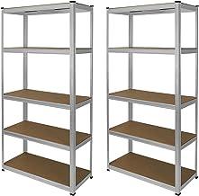 2 x E-rax Stellingkasten - 90x40x180 cm per unit - Zilver - 100% boutloos - Draagkracht: 200 kg per plank - opbergrek metaal