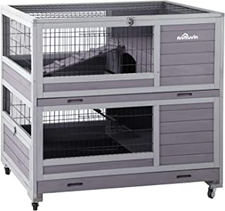 Aivituvin Rabbit Hutch Indoor and Outdoor Bunny Cage on Wheels Guinea Pig Cage with Deep No Leak Pull Out Tray