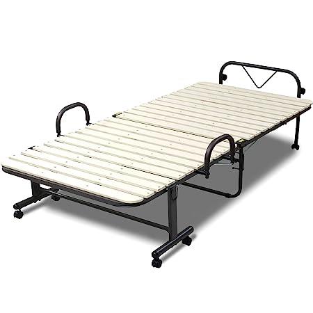 [山善] 折りたたみベッド (すのこ) シングル 高床(ベッド下34㎝) 取っ手付きで立ち上がりやすい 布団干し 通気性 ベッド 組立かんたん ナチュラル SBBA-1S(NA) 【Amazon.co.jp限定】