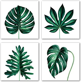 Tropical Plants Wall Art Simple Life Botanical Canvas Giclee Prints 4 Pieces Green Palm Leaf Monstera Pictures Botanical P...