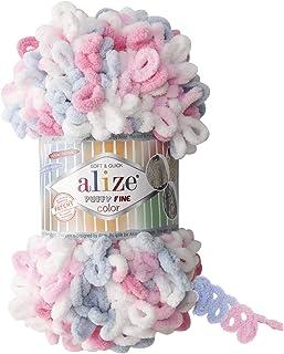 Alize Puffy Fine Color Yarn Baby Blanket Yarn Lot of 5 skeins 500gr 50yds 100% Micropolyester Soft Yarn Baby Blanket Yarn ...