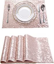 Poise3EHome 18x12 Inches Rectangle Sequin Placemat, Place Mats Pack of 4 - Rose Gold