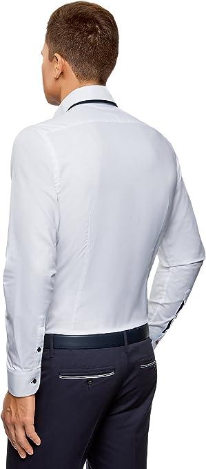 oodji Ultra Hombre Camisa Entallada con Acabado en Contraste