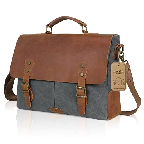 04416d0faad Lifewit 14-15.6 Inch Leather Satchel Messenger Laptop Shoulder Bag Canvas  Briefcase (15.6 Inch