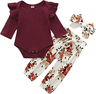 3PCS Newborn Baby Girl Outfits,Infant Long Sleeve Ruffle Tops Romper Bodysuit and Floral Pants Clothes with Headband