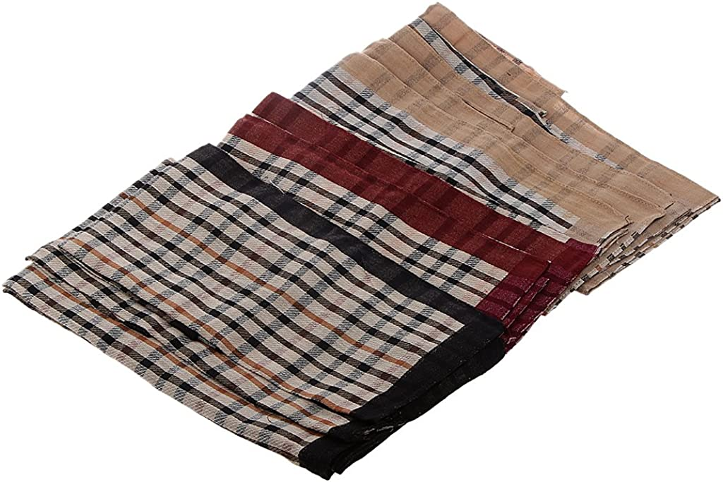 Milageto 12pcs Men Vintage Square Handkerchiefs Plaid Birthday Party Gift - 4