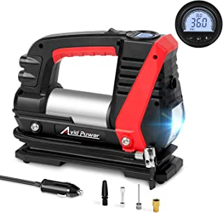 Avid Power Tire Inflator Air Compressor, 12V DC Car Tire Pump with Fast Inflation(0-30Psi Within 3mins), LED Light, Digital LCD Display, Auto Shut Off