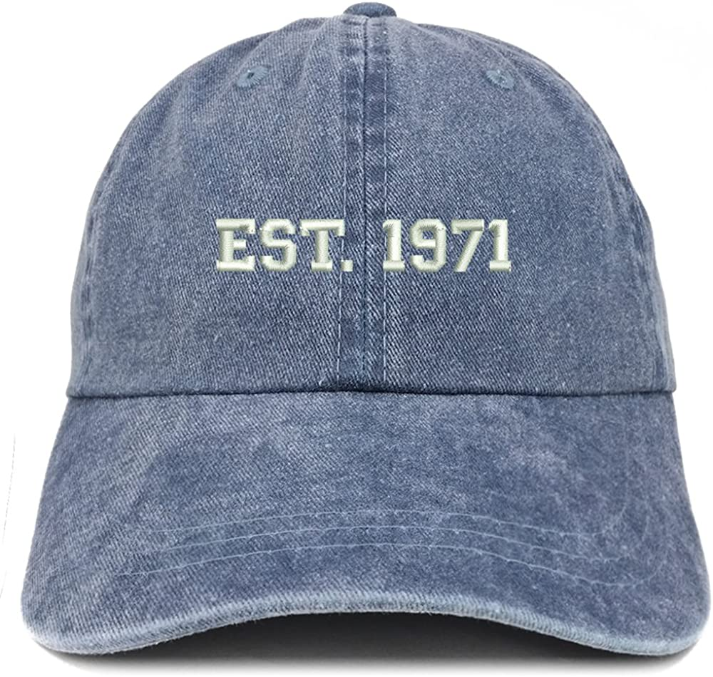 Trendy Apparel Shop EST 1971 Embroidered - 50th Birthday Gift Pigment Dyed Washed Cap