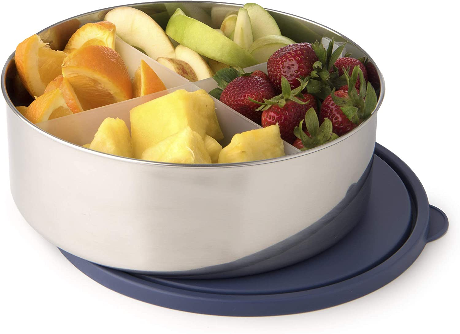 Quantity limited U-Konserve Divided Big It is very popular Bowl Stainless Steel Round Bento Box 3-in