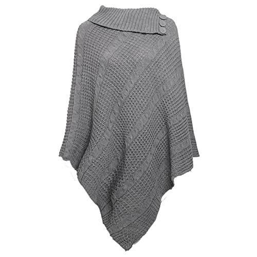 9720aea812dc0 Missmister Womens Ladies Cable Knitted Poncho 3 button Wrap Warm Cape Shawl  Jumper Winter Plus Sizes