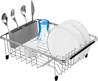 iPEGTOP Expandable Deep & Large Dish Drying Rack with Grey Cutlery Utensil Holder, Over the Sink, In Sink Or On Counter Dish Drainer, Rustproof Stainless Steel