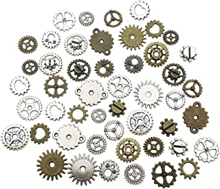 126 PCS Gear Charms Collection - Mixed Antique Bronze Silver Steampunk Watch Wheel Gear Metal Alloy Pendants for Jewelry Making DIY Findings (HM80)