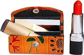 Estuche de piel para pintalabios y cosméticos para el bolso suave y duradero con espejo color marrón
