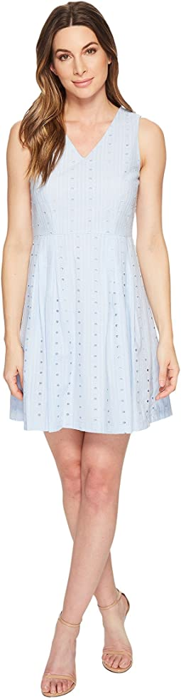 Clairborne - Sleeveless V-Neck Eyelet Dress