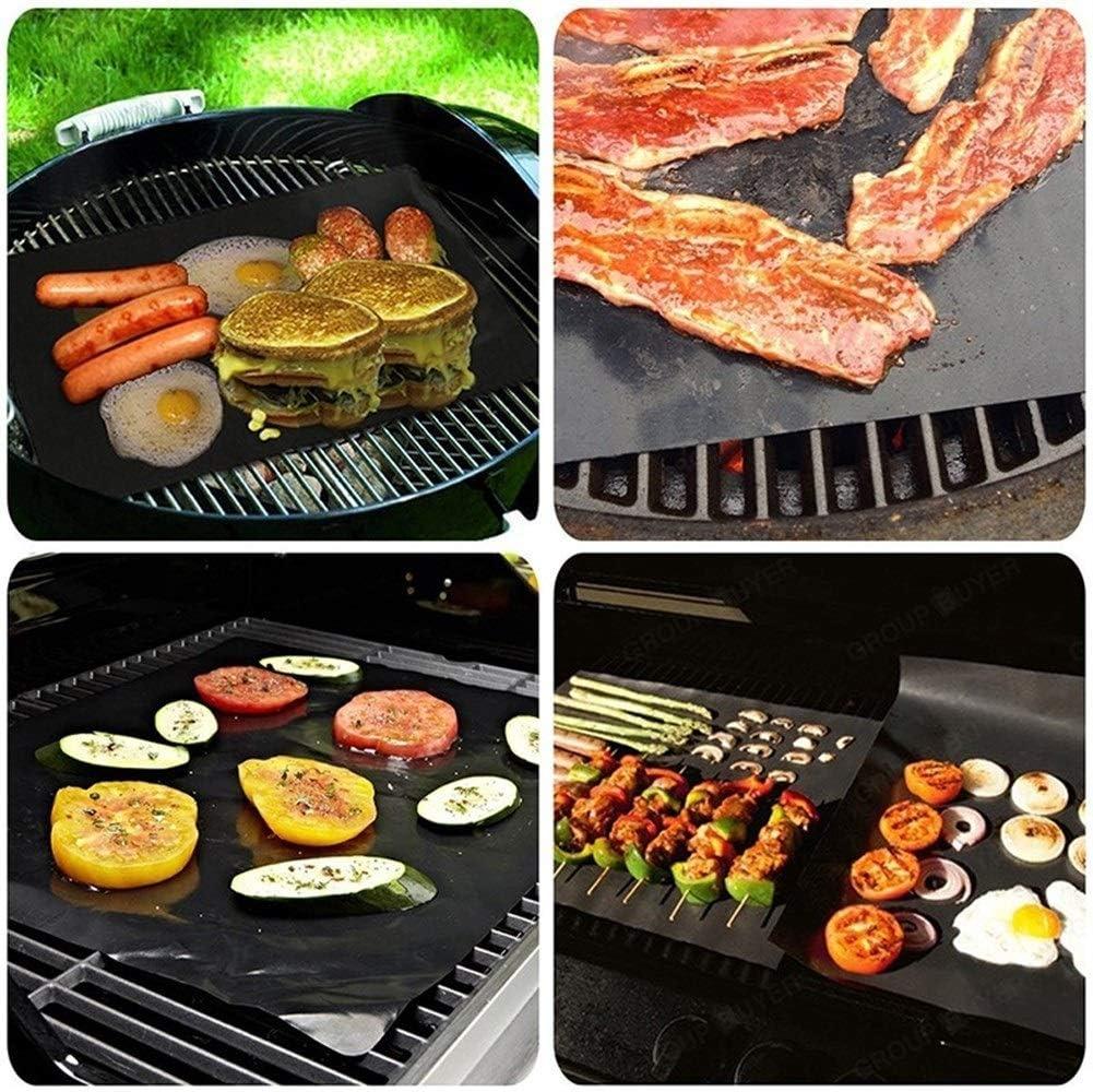 2 / 5pcs NonStick Réutilisable Barbecue Grill Tapis De Barbecue Feuille De Cuisson Plaque Mailles Téflon Matten Outils De Cuisine BBQ Grill Plate Accessoire (Color : 5 pcs) 5 Pcs