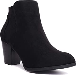 6dd584bc6a9fe Women's Forever Faux Suede Chunky Heel Booties-Comfortable-Vegan Faux Suede