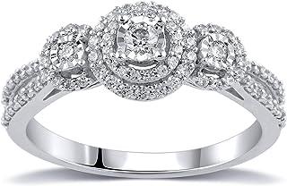 Vibgyor Designs 10K White Gold 3/8 Carat Round-Cut (I-J Color, I2 Clarity) Natural Diamond Ring for Women