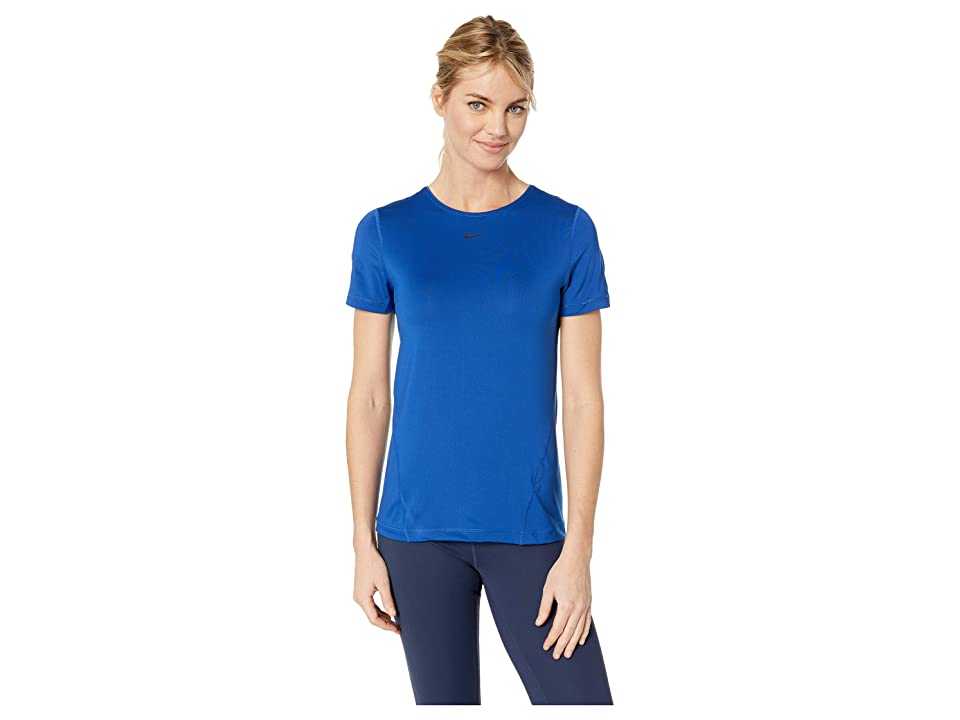 Nike Pro All Over Mesh Short Sleeve Top (Indigo Force/Black) Women