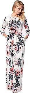 فستان Ruiyige طويل بدون أكمام برقبة بأربطة عتيقة بطباعة الزهور
