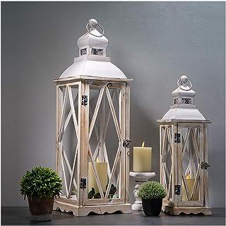 فانوس های فلزی چوبی گلخانه مزرعه Glitzhome تزئینات فانوس شمع آویز تزئینی مجموعه سفید از 2