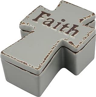 Stonebriar Accents Worn Cider Ceramic Cross Shaped Faith Trinket Box