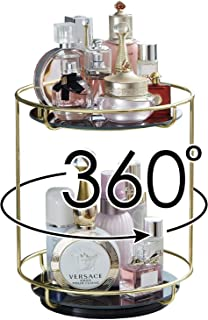 2 Layer Bathroom Tray with Removeable Marble Large Vanity Tray, Double Jewelry Tray, Two-Tiered Perfume Tray, Daily Necklace Holder,Jewelry Tree Stand, Dessert Cupcake Stand in Gold ..., Glass, Gold, Spin