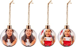 Pack of 4 Hanging Photo Ball Ornaments - Plastic Balls for Displaying Photos and DIY Craft Use - Great for Decorating Christmas Trees - Ready to Hang with Jute Rope, 2.7 Inches in Dia, Clear