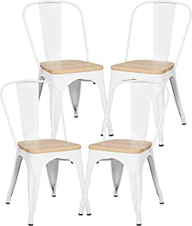 Poly and Bark Trattoria Kitchen and Dining Metal Side Chair with Oak Wood Seat in White (Set of 4)
