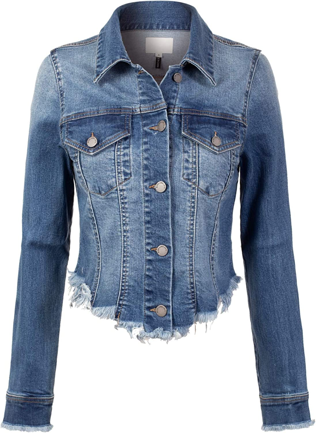 Design Same day shipping by Olivia Women's Long Sleeve Selling and selling Jack Raw Cropped Jean Denim